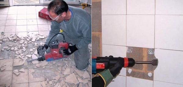 Демонтаж кафельной плитки