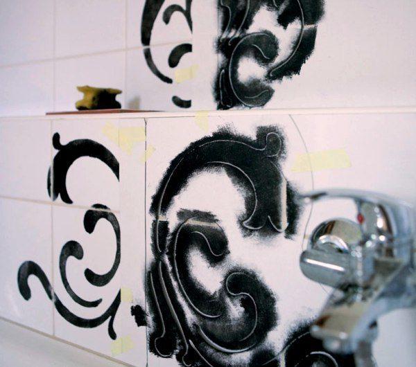 Трафарет росписи керамической плитки