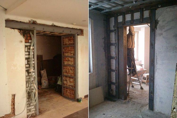 Дверной проем в бетонной и кирпичной стене
